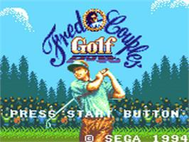 Title screen of Fred Couples Golf on the Sega Game Gear.