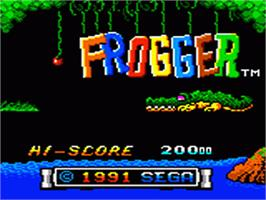 Title screen of Frogger on the Sega Game Gear.