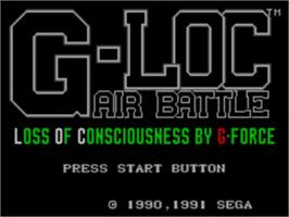 Title screen of G-Loc Air Battle on the Sega Game Gear.