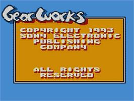 Title screen of Gear Works on the Sega Game Gear.