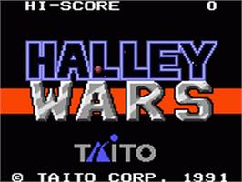 Title screen of Halley Wars on the Sega Game Gear.