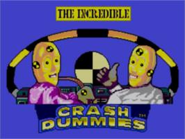 Title screen of Incredible Crash Dummies on the Sega Game Gear.