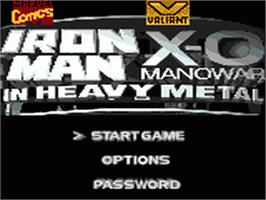 Title screen of Iron Man / X-O Manowar in Heavy Metal on the Sega Game Gear.