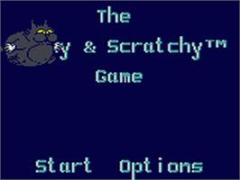 Title screen of Itchy & Scratchy Game on the Sega Game Gear.