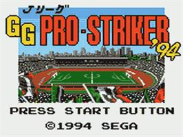 Title screen of J-League GG Pro Striker '94 on the Sega Game Gear.