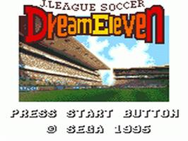 Title screen of J-League Soccer: Dream Eleven on the Sega Game Gear.