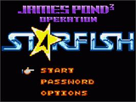 Title screen of James Pond 3: Operation Starfish on the Sega Game Gear.