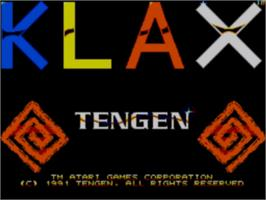 Title screen of Klax on the Sega Game Gear.