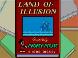 Title screen of Land of Illusion starring Mickey Mouse on the Sega Game Gear.