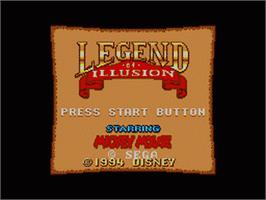 Title screen of Legend of Illusion starring Mickey Mouse on the Sega Game Gear.