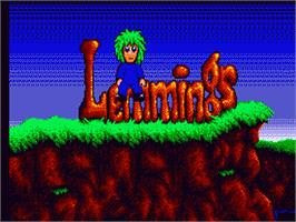 Title screen of Lemmings on the Sega Game Gear.