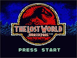 Title screen of Lost World: Jurassic Park on the Sega Game Gear.