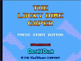 Title screen of Lucky Dime Caper starring Donald Duck on the Sega Game Gear.