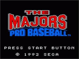 Title screen of Majors Pro Baseball on the Sega Game Gear.