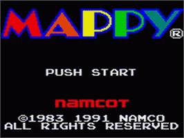 Title screen of Mappy on the Sega Game Gear.