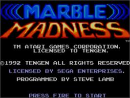 Title screen of Marble Madness on the Sega Game Gear.