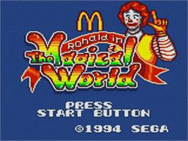 Title screen of McDonald's: Ronald in the Magical World on the Sega Game Gear.