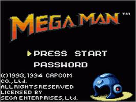Title screen of Mega Man on the Sega Game Gear.