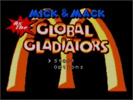 Title screen of Mick & Mack as the Global Gladiators on the Sega Game Gear.