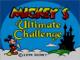 Title screen of Mickey's Ultimate Challenge on the Sega Game Gear.