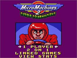 Title screen of Micro Machines 2: Turbo Tournament on the Sega Game Gear.