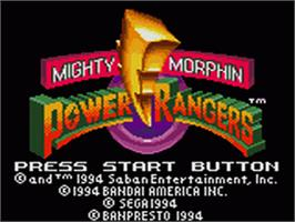 Title screen of Mighty Morphin Power Rangers: The Movie on the Sega Game Gear.