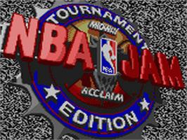 Title screen of NBA Jam TE on the Sega Game Gear.