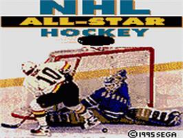 Title screen of NHL All-Star Hockey on the Sega Game Gear.