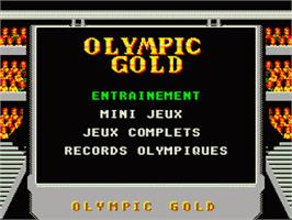 Title screen of Olympic Gold: Barcelona '92 on the Sega Game Gear.
