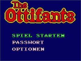 Title screen of Ottifants on the Sega Game Gear.