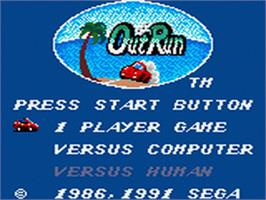 Title screen of Out Run on the Sega Game Gear.