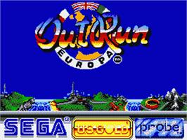 Title screen of Out Run Europa on the Sega Game Gear.