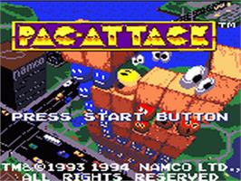 Title screen of Pac-Attack on the Sega Game Gear.