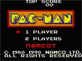 Title screen of Pac-Man on the Sega Game Gear.