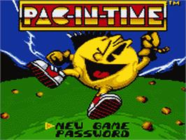 Title screen of Pac-in-Time on the Sega Game Gear.
