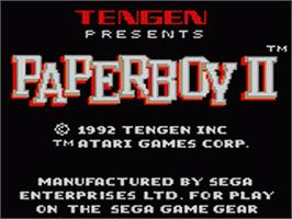Title screen of Paperboy 2 on the Sega Game Gear.