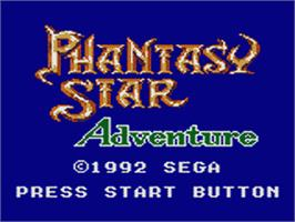Title screen of Phantasy Star Adventure on the Sega Game Gear.