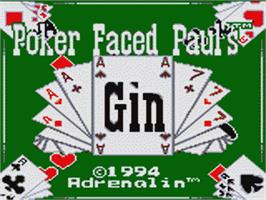 Title screen of Poker Face Paul's Gin on the Sega Game Gear.