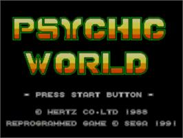 Title screen of Psychic World on the Sega Game Gear.