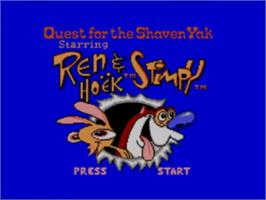 Title screen of Quest for the Shaven Yak starring Ren Hoëk & Stimpy on the Sega Game Gear.