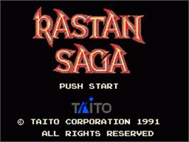 Title screen of Rastan Saga on the Sega Game Gear.