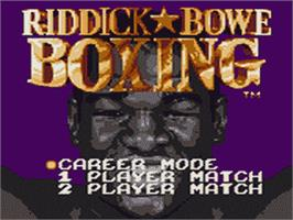 Title screen of Riddick Bowe Boxing on the Sega Game Gear.