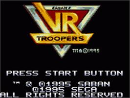 Title screen of Saban's VR Troopers on the Sega Game Gear.