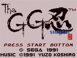 Title screen of Shinobi on the Sega Game Gear.