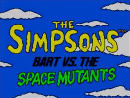 Title screen of Simpsons: Bart vs. the Space Mutants on the Sega Game Gear.