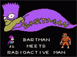 Title screen of Simpsons: Bartman Meets Radioactive Man on the Sega Game Gear.