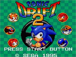 Title screen of Sonic Drift 2 on the Sega Game Gear.
