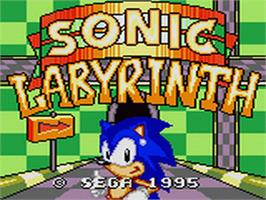 Title screen of Sonic Labyrinth on the Sega Game Gear.
