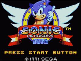 Title screen of Sonic The Hedgehog on the Sega Game Gear.