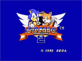 Title screen of Sonic The Hedgehog 2 on the Sega Game Gear.